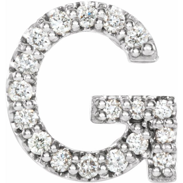 14K White .06 CTW Diamond Single Initial G Earring