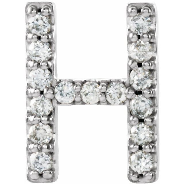 14K White .05 CTW Diamond Single Initial H Earring