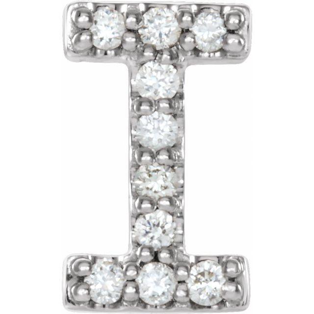 14K White .04 CTW Diamond Single Initial I Earring