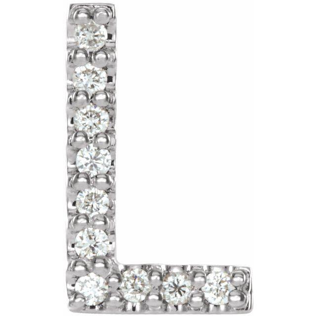 14K White .04 CTW Diamond Single Initial L Earring