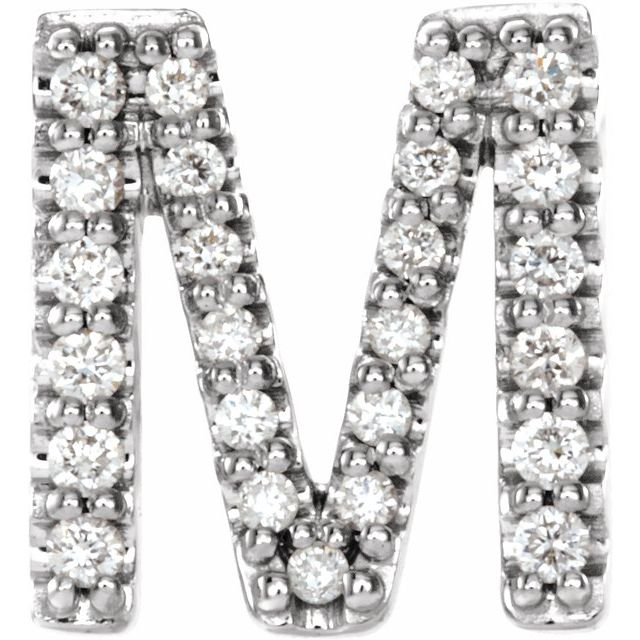 Sterling Silver .08 CTW Diamond Single Initial M Earring