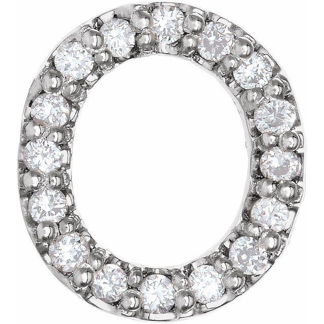14K White .07 CTW Diamond Single Initial O Earring
