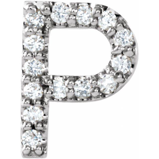 14K White .06 CTW Diamond Single Initial P Earring