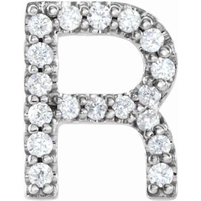 14K White .06 CTW Diamond Single Initial R Earring