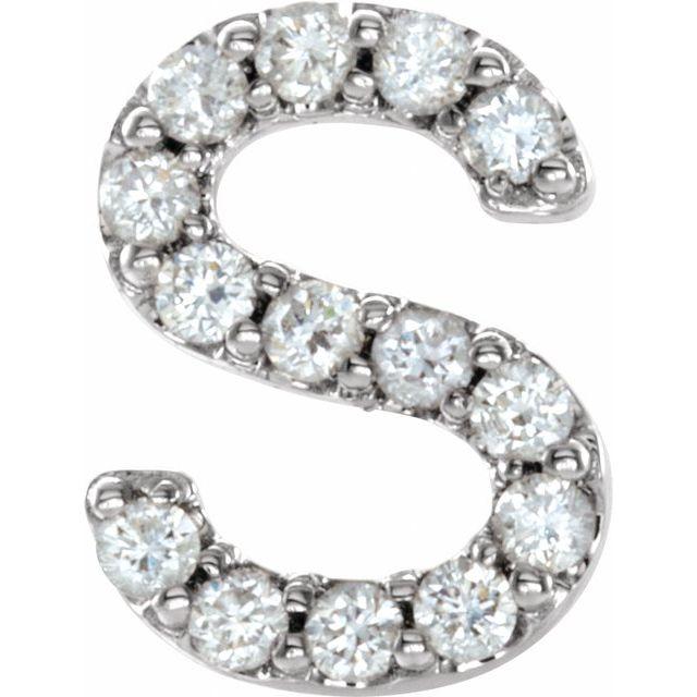 14K White .05 CTW Diamond Single Initial S Earring