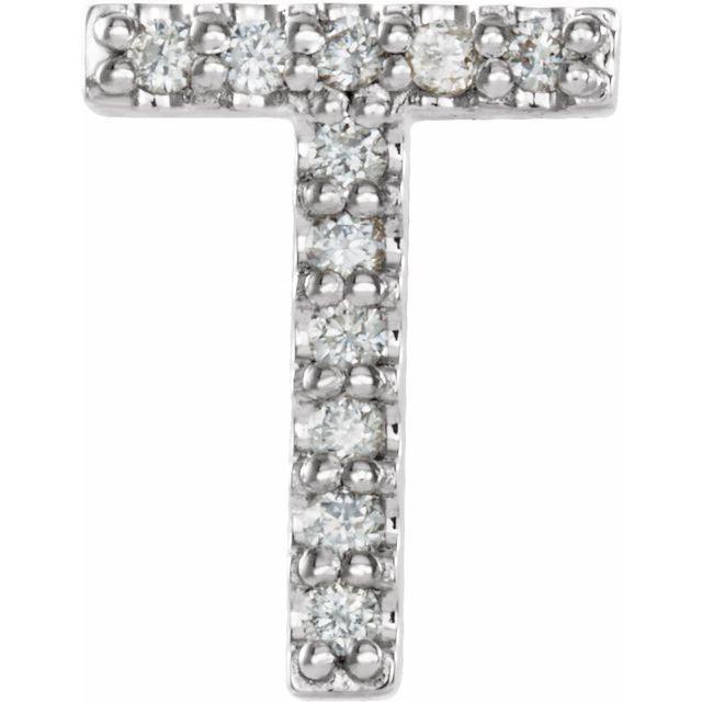 14K White .04 CTW Diamond Single Initial T Earring