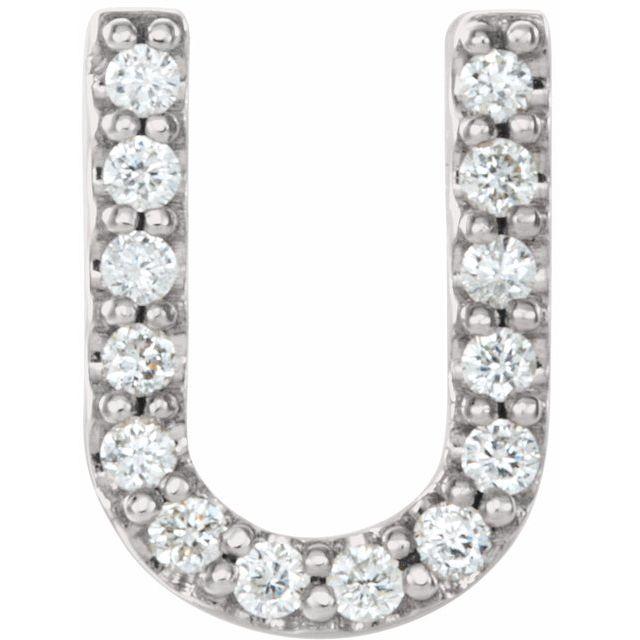 14K White .06 CTW Diamond Single Initial U Earring