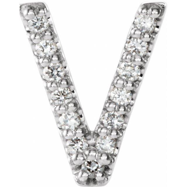 14K White .03 CTW Diamond Single Initial V Earring