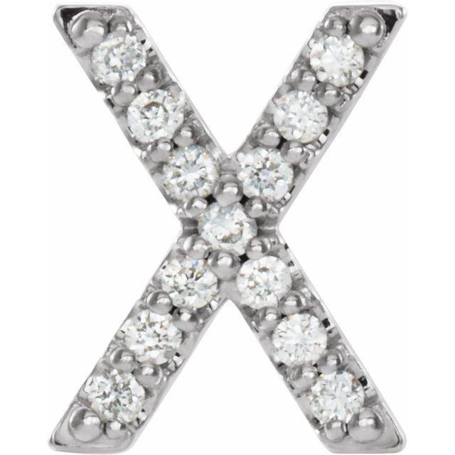 14K White .05 CTW Diamond Single Initial X Earring