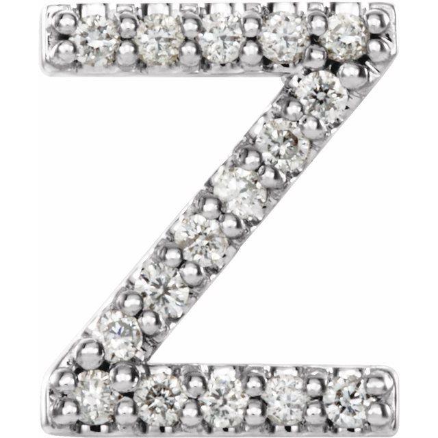 14K White .06 CTW Diamond Single Initial Z Earring