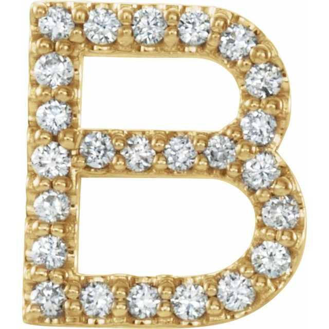 14K Yellow 1/10 CTW Diamond Single Initial B Earring