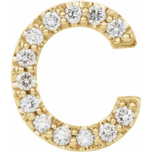 14K Yellow .05 CTW Diamond Single Initial C Earring