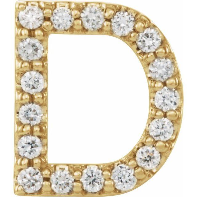 14K Yellow .06 CTW Diamond Single Initial D Earring