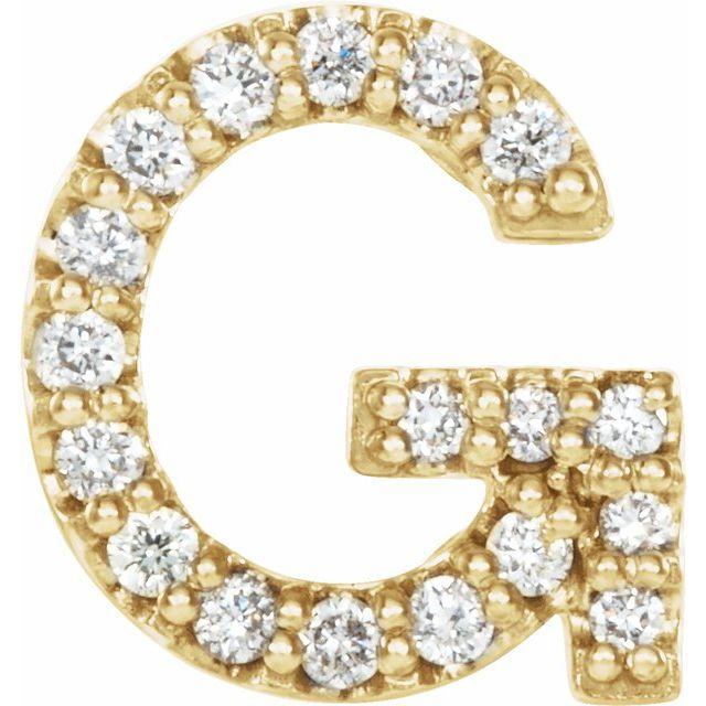 14K Yellow .06 CTW Diamond Single Initial G Earring