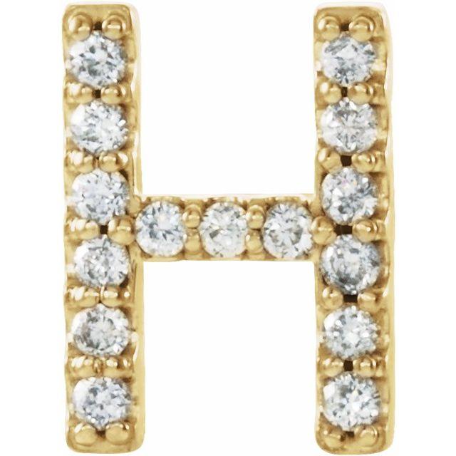 14K Yellow .05 CTW Diamond Single Initial H Earring