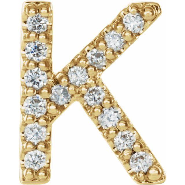 14K Yellow .05 CTW Diamond Single Initial K Earring