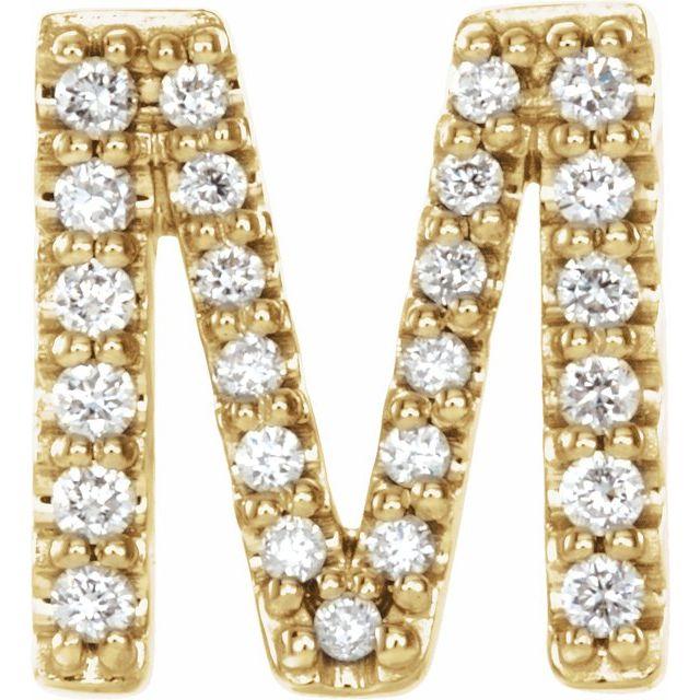14K Yellow .08 CTW Diamond Single Initial M Earring