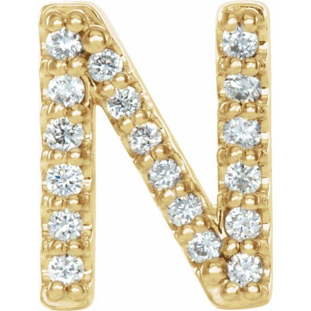 14K Yellow .06 CTW Diamond Single Initial N Earring