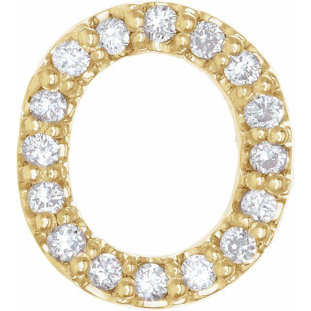 14K Yellow .07 CTW Diamond Single Initial O Earring