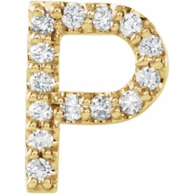 14K Yellow .06 CTW Diamond Single Initial P Earring
