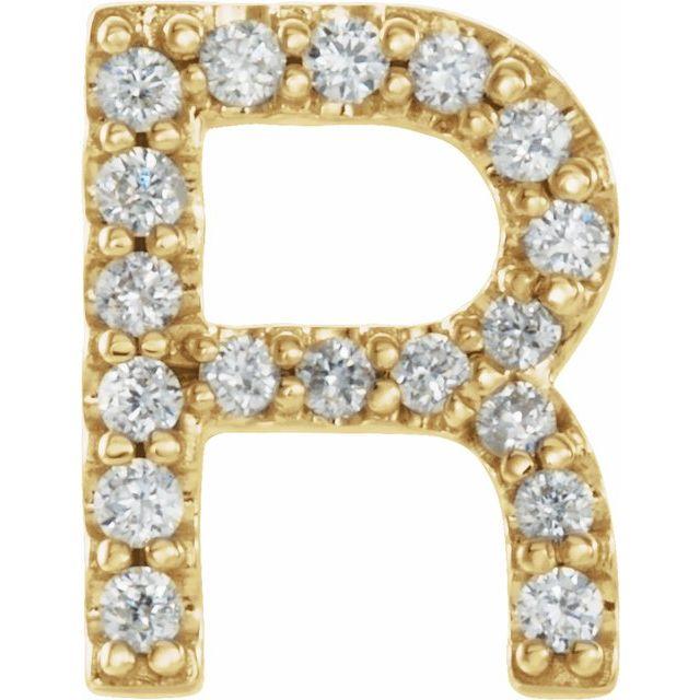 14K Yellow .06 CTW Diamond Single Initial R Earring