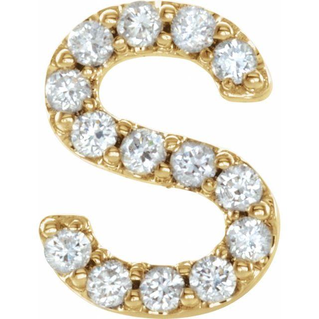 14K Yellow .05 CTW Diamond Single Initial S Earring