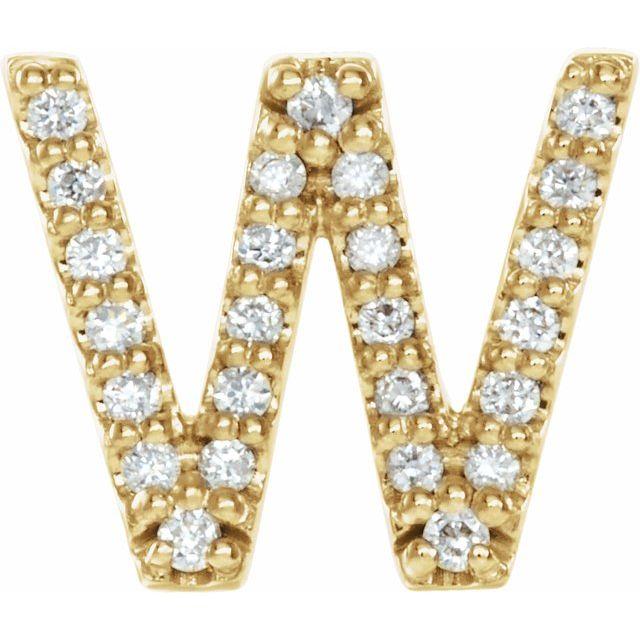14K Yellow .07 CTW Diamond Single Initial W Earring