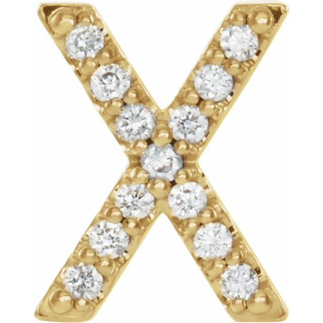14K Yellow .05 CTW Diamond Single Initial X Earring