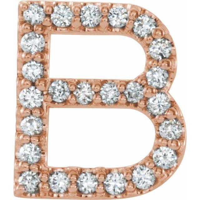 14K Rose 1/10 CTW Diamond Single Initial B Earring