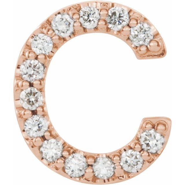 14K Rose .05 CTW Diamond Single Initial C Earring