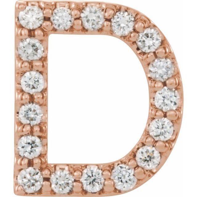 14K Rose .06 CTW Diamond Single Initial D Earring