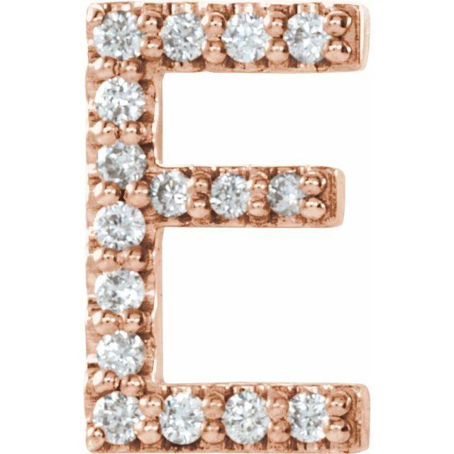 14K Rose .06 CTW Diamond Single Initial E Earring