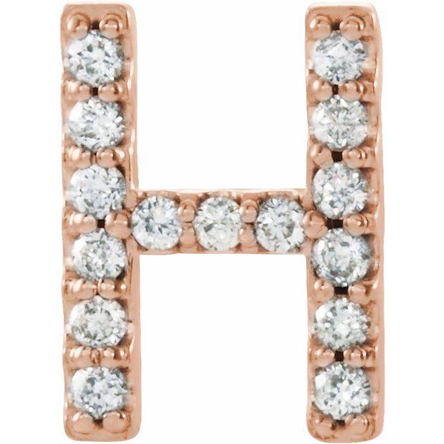 14K Rose .05 CTW Diamond Single Initial H Earring