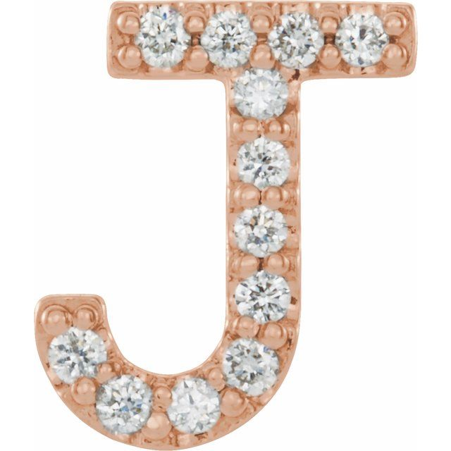 14K Rose .05 CTW Diamond Single Initial J Earring