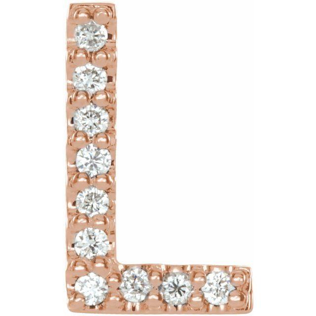 14K Rose .04 CTW Diamond Single Initial L Earring