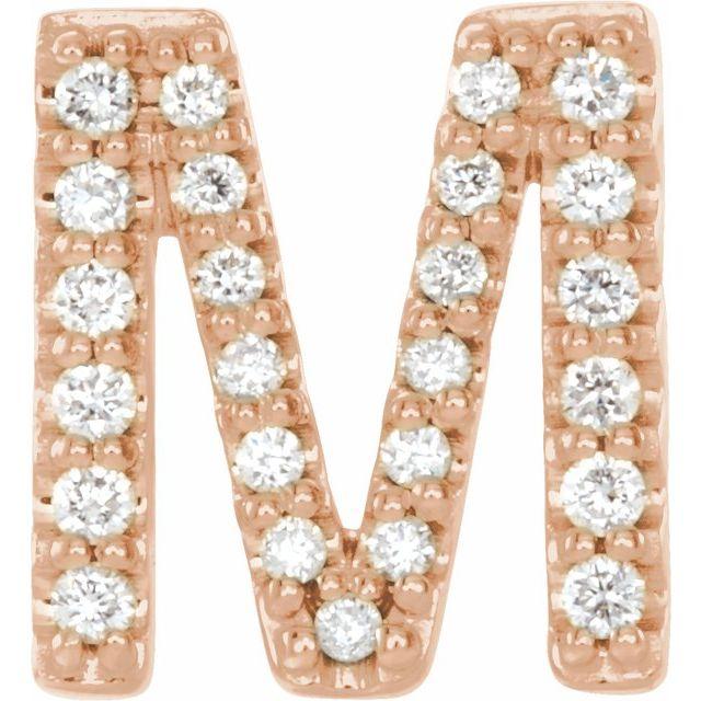 14K Rose .08 CTW Diamond Single Initial M Earring