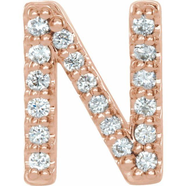 14K Rose .06 CTW Diamond Single Initial N Earring
