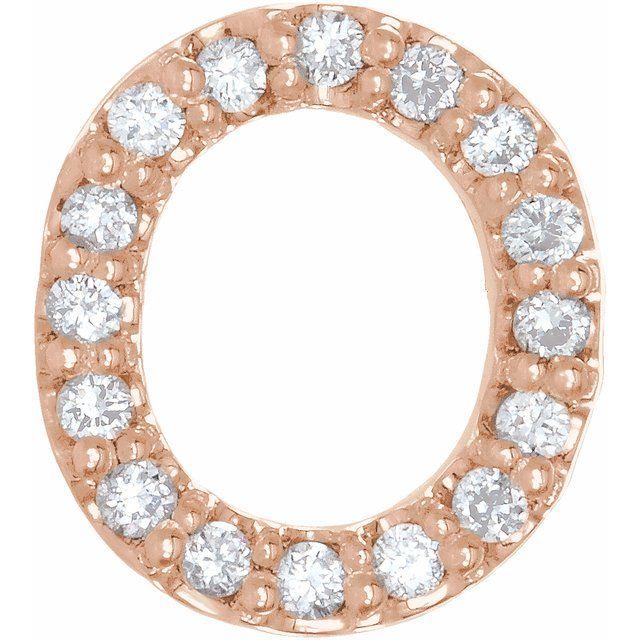 14K Rose .07 CTW Diamond Single Initial O Earring
