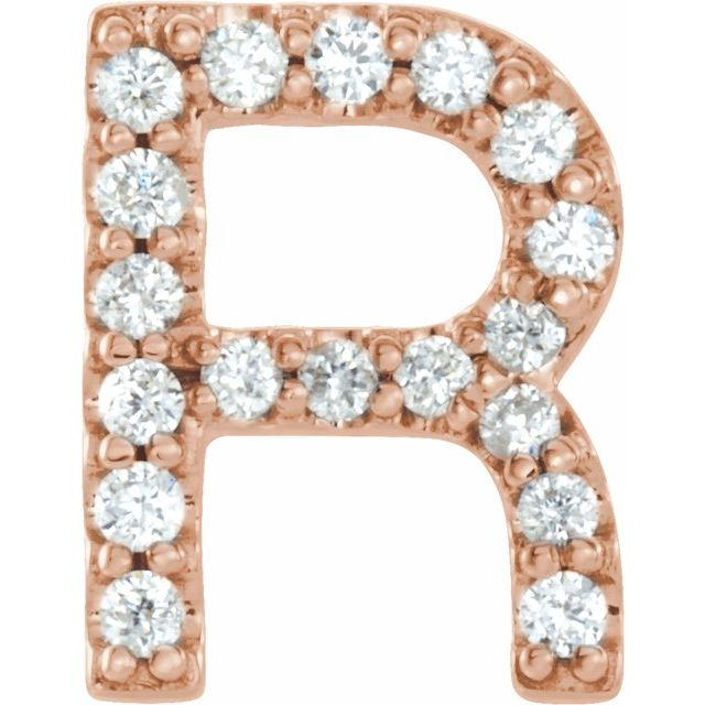 14K Rose .06 CTW Diamond Single Initial R Earring