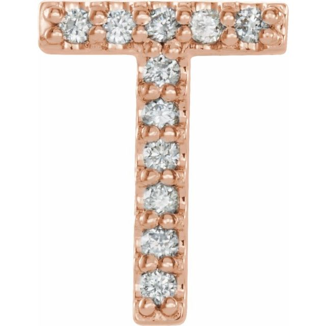 14K Rose .04 CTW Diamond Single Initial T Earring