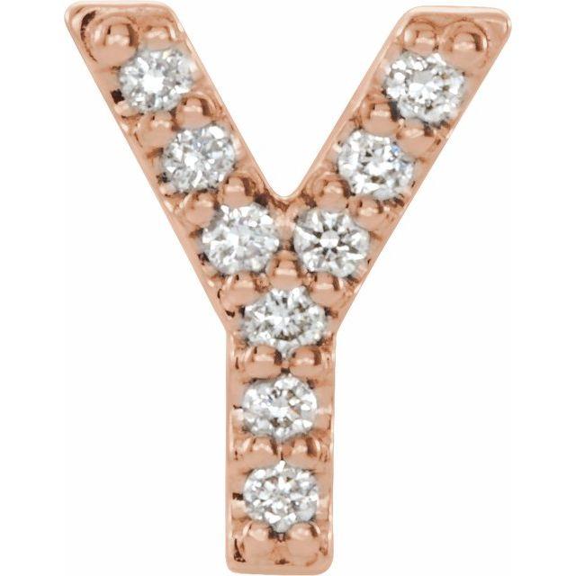 14K Rose .04 CTW Diamond Single Initial Y Earring