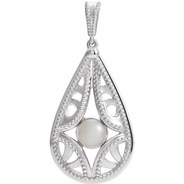 Sterling Silver Cultured White Freshwater Pearl Vintage-Inspired Pendant
