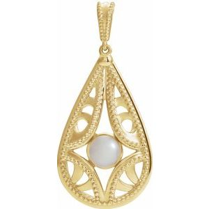 14K Yellow Vintage-Inspired Freshwater Cultured Pearl Pendant