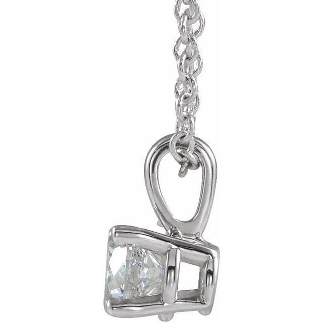 14K White 1/4 CT Natural Diamond 16-18