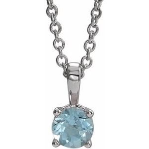 "14K White 4 mm Round Aquamarine Birthstone 16-18"" Necklace"