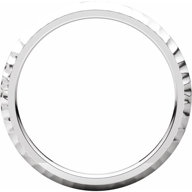14K White 2 mm Half Round Band with Hammer Finish Size 5