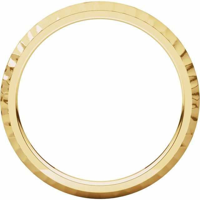 14K Yellow 2 mm Half Round Band with Hammer Finish Size 7