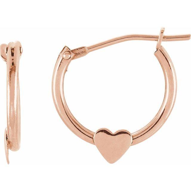 14K Rose Hinged Hoop Earrings with Heart