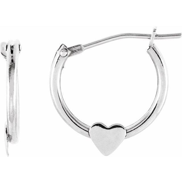 14K White Hinged Hoop Earrings with Heart