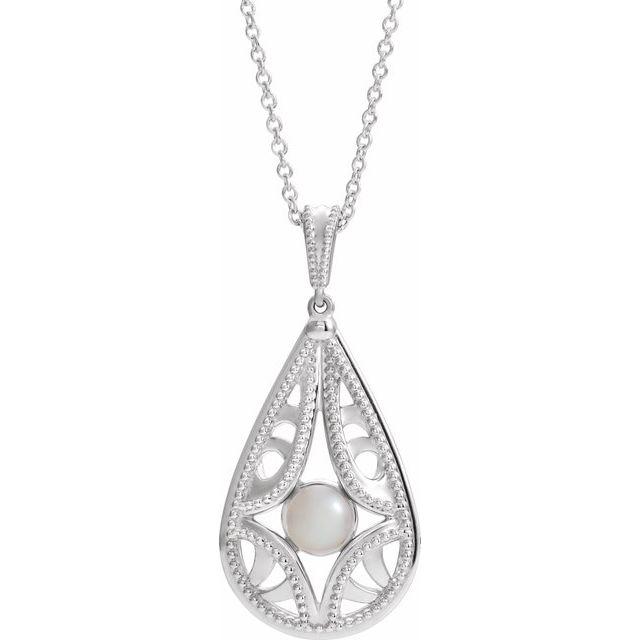 14K White Cultured White Freshwater Pearl Vintage-Inspired 16-18